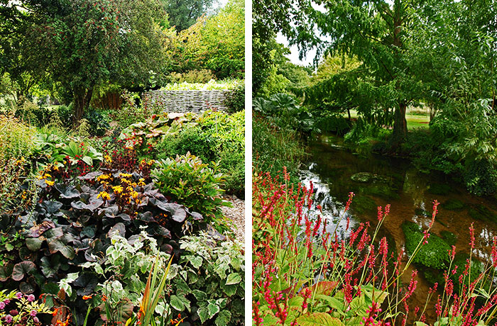 Perennial border and riverbank at Fullers Mill Garden