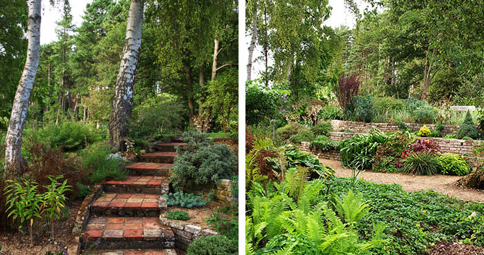 Steps and terraces at Fullers Mill Garden